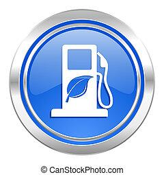 blauwe , bio, biofuel, knoop, brandstof, pictogram, meldingsbord