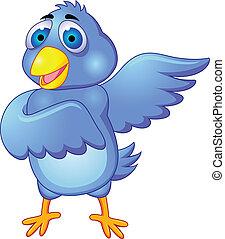 blauwe , bird., vrijstaand, spotprent, w