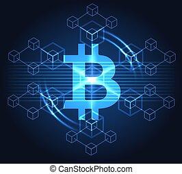blauwe , bitcoin, achtergrond