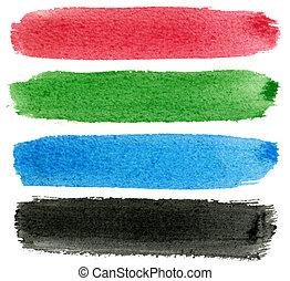 blauwe , black , watercolor, paint., groene, rood