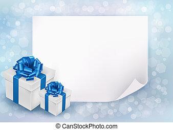 blauwe , blad, geschenk buiging, dozen, papier, achtergrond, vakantie, lint