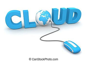 blauwe , bladeren, globaal, -, muis, wolk