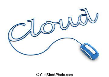 blauwe , bladeren, wolk, glanzend, kabel