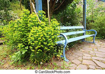 blauwe bloemen, bankje, groene, mooi