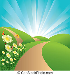 blauwe bloemen, hemel, vlinder, velden, landscape, groene, lente