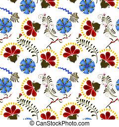 blauwe bloemen, seamless, textuur, rood