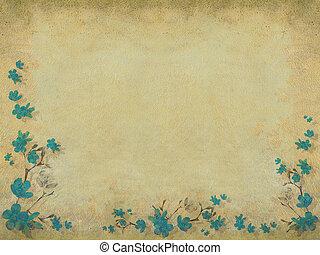 blauwe bloesem, bloemenrand, helft
