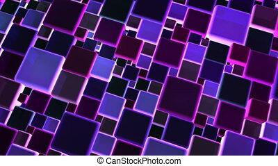 blauwe , blokje, neon belicht, 4k, achtergrond