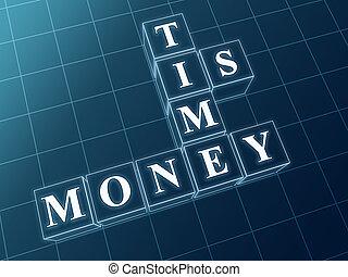blauwe , blokjes, geld, glas, tijd