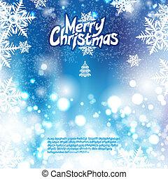 blauwe , bokeh, kerstmis, achtergrond