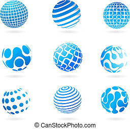 blauwe bol, 3d, verzameling, iconen
