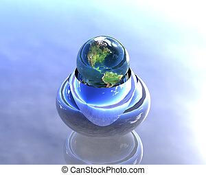 blauwe bol, hemel