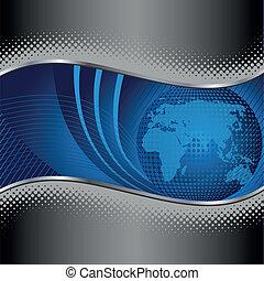 blauwe bol, met, zilver, metaal, grens