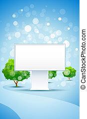 blauwe bomen, straat, achtergrond, buitenreclame, lege