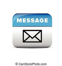 blauwe , boodschap, vector, knoop, pictogram