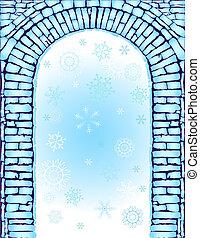 blauwe , boog, achtergrond, (vector), kerstmis