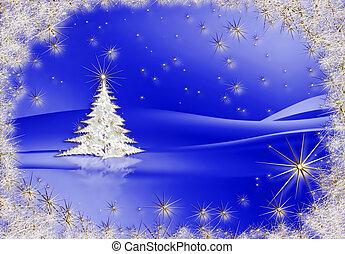blauwe , boompje, sterretjes, achtergrond, kerstmis