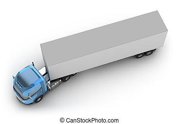 blauwe bovenkant, vrachtwagen, schamelaanhanger, aanzicht