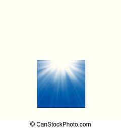 blauwe , bovenleer, centrum, sky., asymmetrisch, licht, abstract, barsten, donkere achtergrond, zon