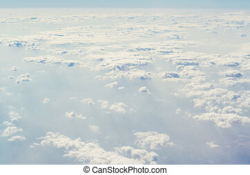 blauwe , bovenleer, lagen, hemel, wolken, atmosphere.