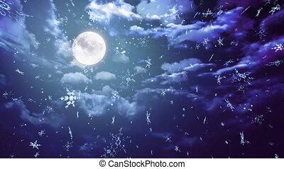 blauwe , breed, sneeuwvlok, maan
