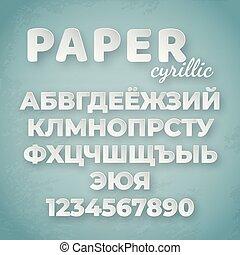 blauwe , brieven, cyrillic, papier, getallen, achtergrond, alphabet., witte