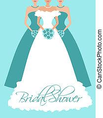 blauwe , bruid, bridesmaids