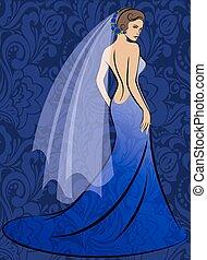 blauwe , bruid, jurkje
