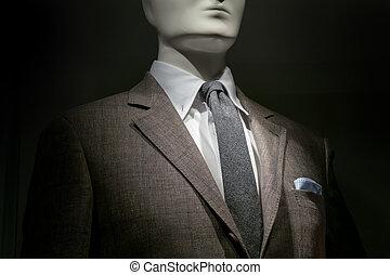 blauwe , bruine , close-up, checkered, zakdoek, &, hemd,...