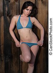 blauwe , brunette