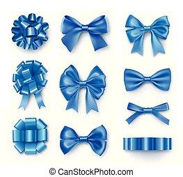 blauwe , buigingen, linten, cadeau