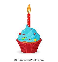 blauwe , burning, een, jarig, karamel, kaarsje, cupcake, room