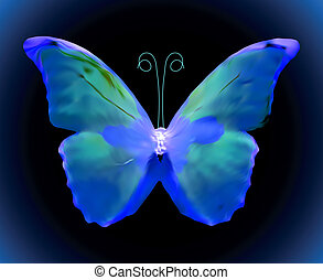 blauwe , butterfly., vector