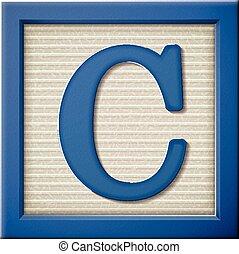 blauwe , c, brief, blok, 3d