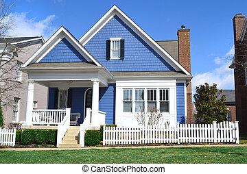 blauwe cape, stijl, kabeljauw, woning