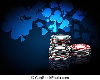 blauwe , casino, illustratie, achtergrond, stacks., frites,...