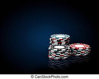 blauwe , casino, illustratie, zwarte achtergrond, stacks.,...