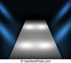 blauwe , catwalk, achtergrond
