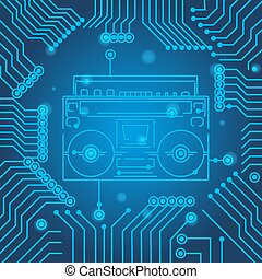 blauwe , circuit, model, player., vector, cassette, plank, achtergrond, wetenschap, high-tech, technologie, texture., minimaal, illustration.