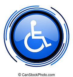 blauwe , cirkel, bereikbaarheid, glanzend, pictogram
