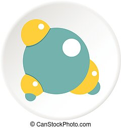 blauwe , cirkel, molecule, pictogram
