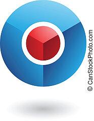 blauwe , cirkel, rood, kern, abstract, pictogram