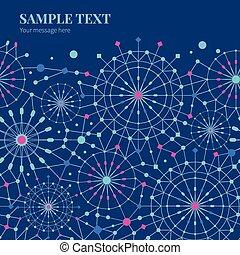 blauwe , cirkels, kunst, horizontaal patroon, abstract, seamless, vector, achtergrond, lijn, frame