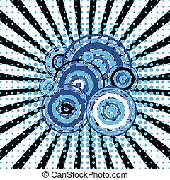 blauwe , cirkels, retro, achtergrond, twirl