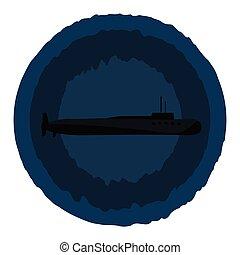 blauwe , clipart, kleur, op, illustratie, duikboot, vector,...