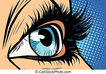 blauwe , close-up, vrouw oog