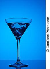 blauwe , coctail, kleurrijke, achtergrond, ijs