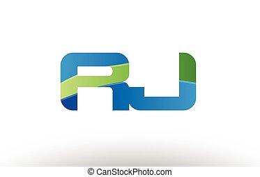 blauwe , combinatie, alfabet, j, r, ontwerp, brief, logo, groene, rj, pictogram