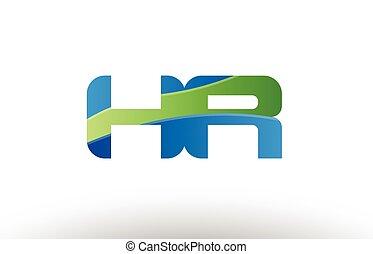 blauwe , combinatie, hr, alfabet, logo, r, ontwerp, brief h,...