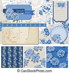 blauwe , communie, ouderwetse , -, vector, ontwerp, plakboek, bloemen
